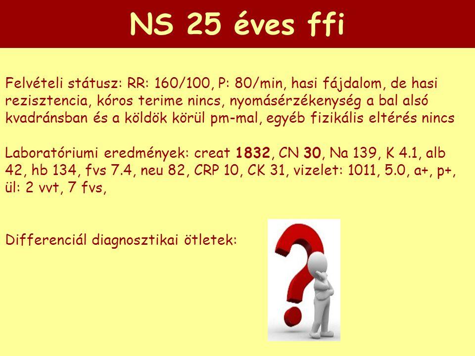 NS 25 éves ffi Felvételi státusz: RR: 160/100, P: 80/min, hasi fájdalom, de hasi rezisztencia, kóros terime nincs, nyomásérzékenység a bal alsó kvadrá