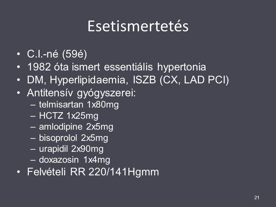 Esetismertetés C.I.-né (59é) 1982 óta ismert essentiális hypertonia DM, Hyperlipidaemia, ISZB (CX, LAD PCI) Antitensív gyógyszerei: –telmisartan 1x80m