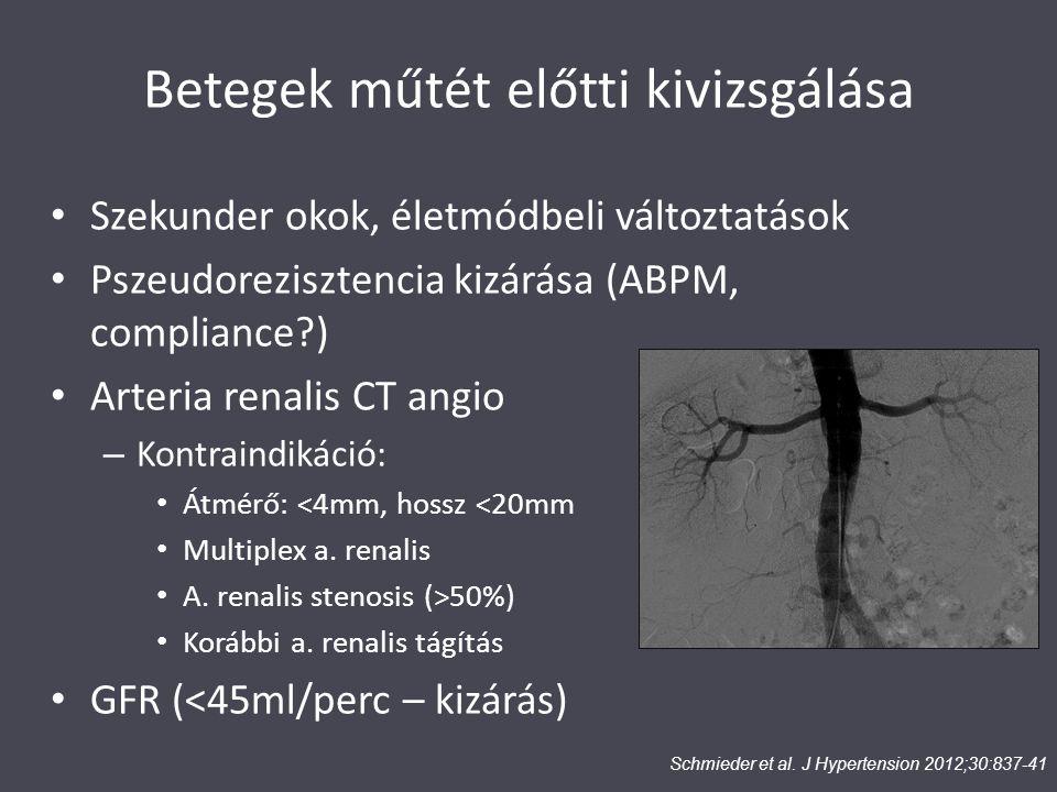 Betegek műtét előtti kivizsgálása Szekunder okok, életmódbeli változtatások Pszeudorezisztencia kizárása (ABPM, compliance?) Arteria renalis CT angio