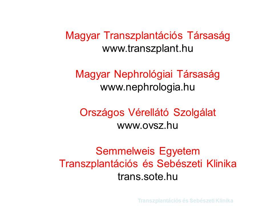 Transzplantációs és Sebészeti Klinika Magyar Transzplantációs Társaság www.transzplant.hu Magyar Nephrológiai Társaság www.nephrologia.hu Országos Vér