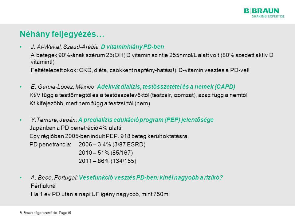 B. Braun cégprezentáció | Page15 J. Al-Wakal, Szaud-Arábia: D vitaminhiány PD-ben A betegek 90%-ának szérum 25(OH) D vitamin szintje 255nmol/L alatt v