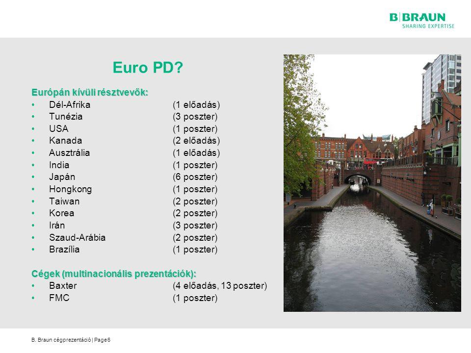 B. Braun cégprezentáció | Page6 Euro PD? Európán kívüli résztvevők: Dél-Afrika(1 előadás) Tunézia(3 poszter) USA(1 poszter) Kanada(2 előadás) Ausztrál