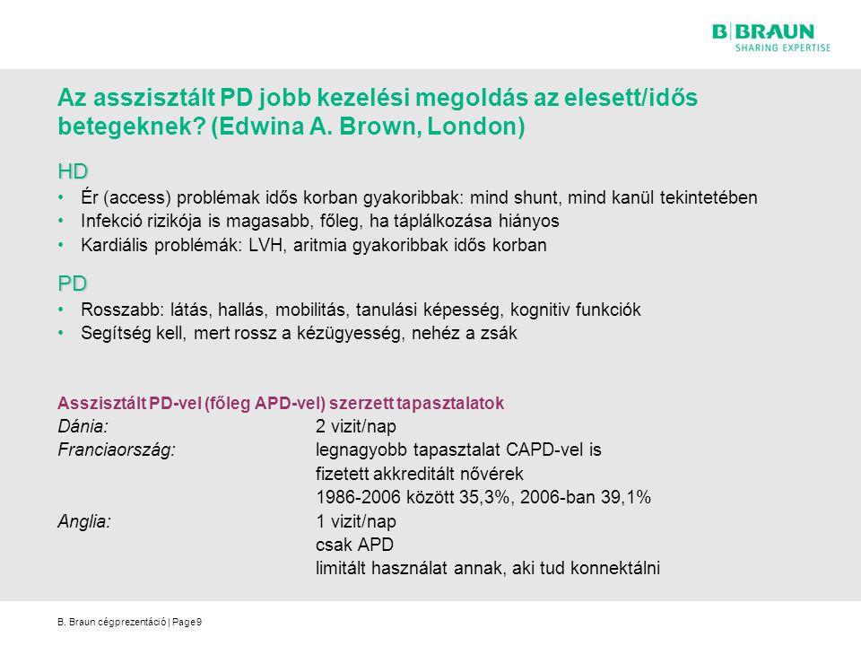 B. Braun cégprezentáció | Page9 Az asszisztált PD jobb kezelési megoldás az elesett/idős betegeknek? (Edwina A. Brown, London) HD Ér (access) probléma