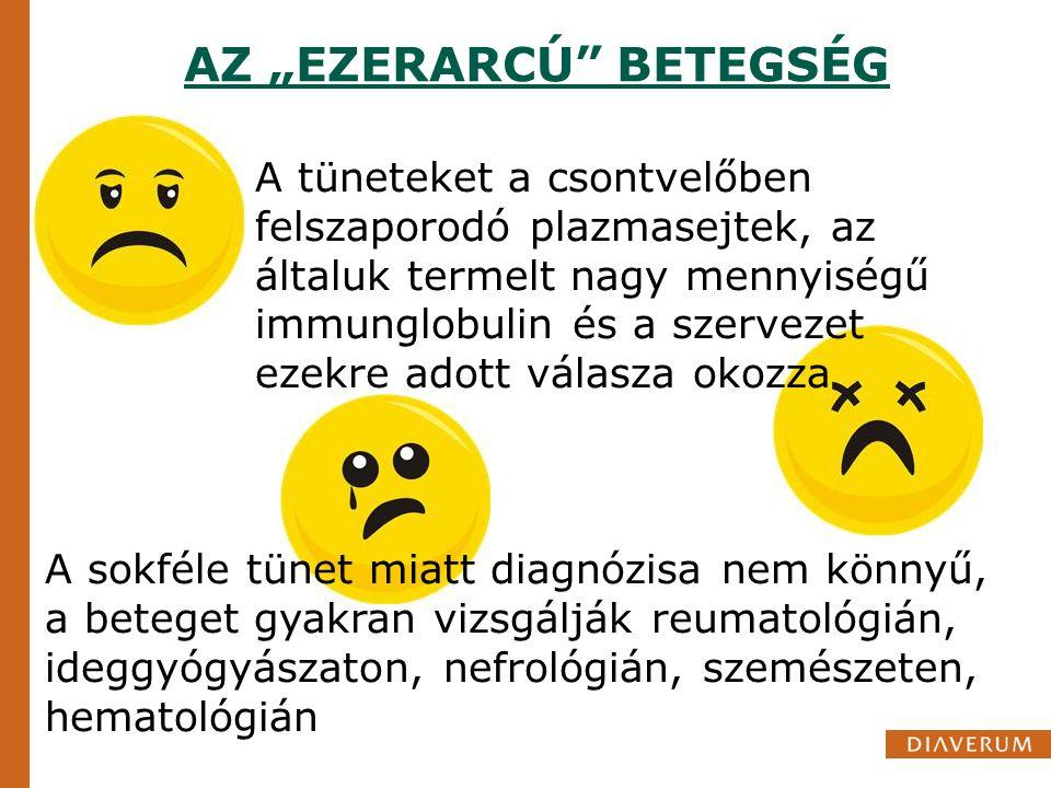 """AZ """"EZERARCÚ"""" BETEGSÉG A tüneteket a csontvelőben felszaporodó plazmasejtek, az általuk termelt nagy mennyiségű immunglobulin és a szervezet ezekre ad"""