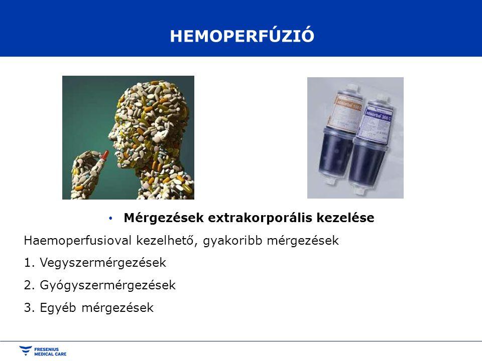 HEMOPERFÚZIÓ Mérgezések extrakorporális kezelése Haemoperfusioval kezelhető, gyakoribb mérgezések 1. Vegyszermérgezések 2. Gyógyszermérgezések 3. Egyé