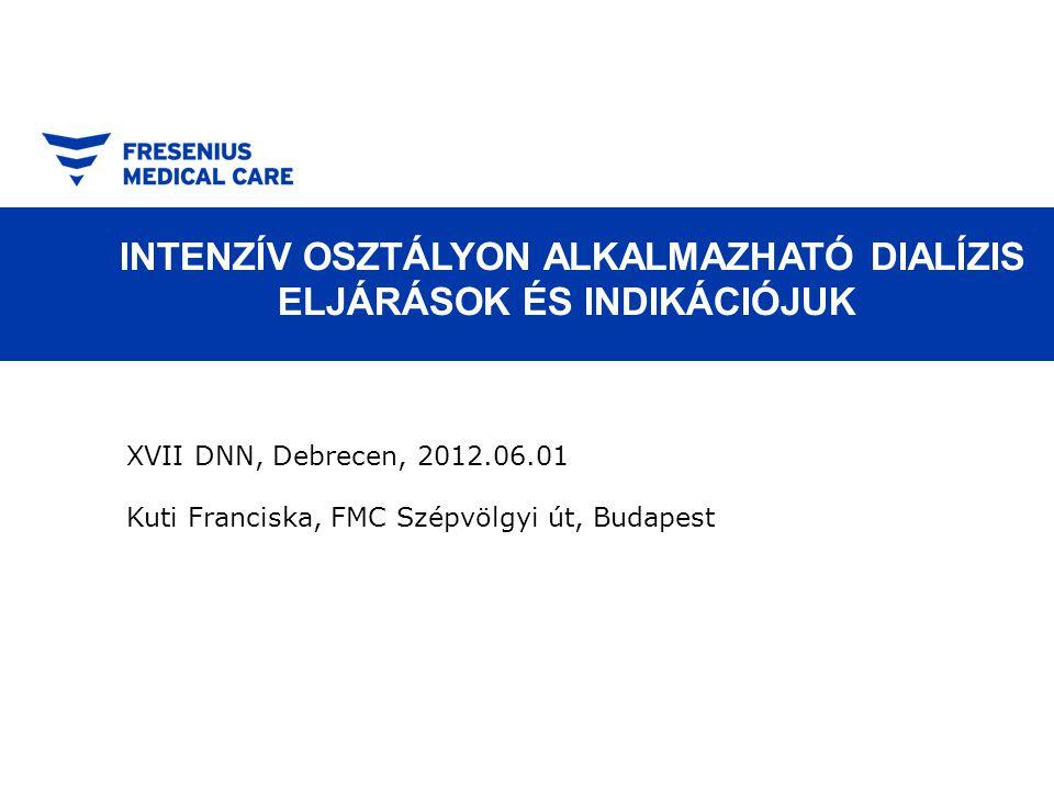 INTENZÍV OSZTÁLYON ALKALMAZHATÓ DIALÍZIS ELJÁRÁSOK ÉS INDIKÁCIÓJUK XVII DNN, Debrecen, 2012.06.01 Kuti Franciska, FMC Szépvölgyi út, Budapest