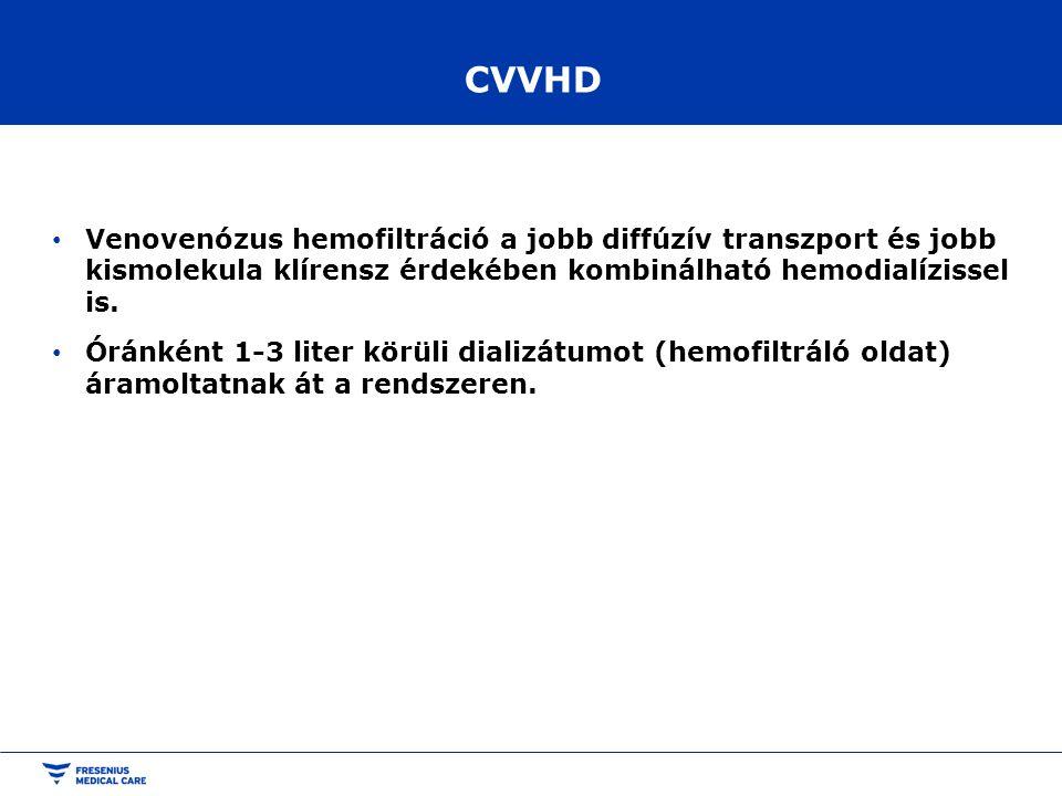 CVVHD Venovenózus hemofiltráció a jobb diffúzív transzport és jobb kismolekula klírensz érdekében kombinálható hemodialízissel is. Óránként 1-3 liter
