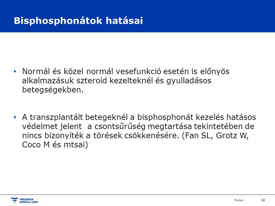 Bisphosphonátok hatásai Normál és közel normál vesefunkció esetén is előnyös alkalmazásuk szteroid kezelteknél és gyulladásos betegségekben.