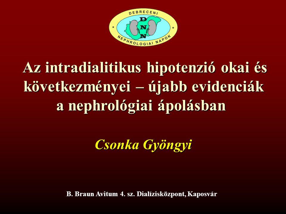 Az intradialitikus hipotenzió okai és Az intradialitikus hipotenzió okai és következményei – újabb evidenciák a nephrológiai ápolásban B. Braun Avitum