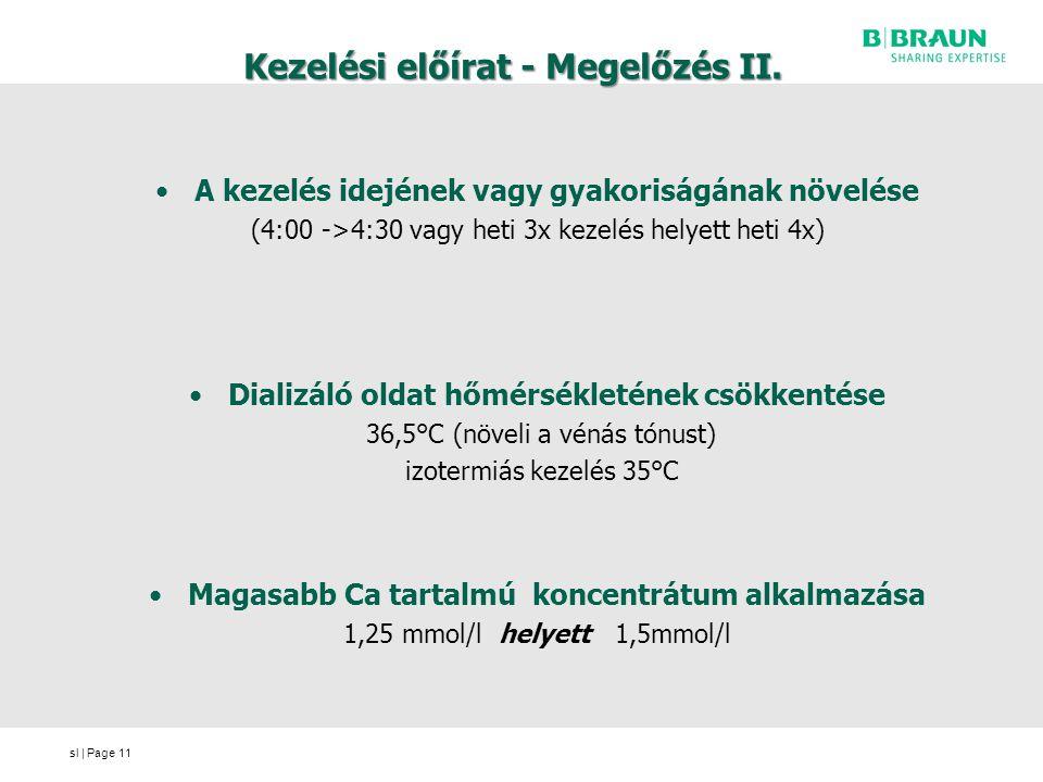 sl | Page Kezelési előírat - Megelőzés II. A kezelés idejének vagy gyakoriságának növelése (4:00 ->4:30 vagy heti 3x kezelés helyett heti 4x) Dializál