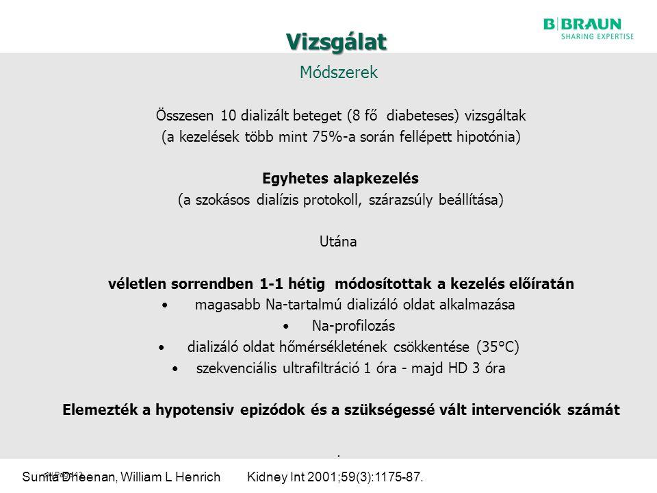 sl | Page Vizsgálat Módszerek Összesen 10 dializált beteget (8 fő diabeteses) vizsgáltak (a kezelések több mint 75%-a során fellépett hipotónia) Egyhetes alapkezelés (a szokásos dialízis protokoll, szárazsúly beállítása) Utána véletlen sorrendben 1-1 hétig módosítottak a kezelés előíratán magasabb Na-tartalmú dializáló oldat alkalmazása Na-profilozás dializáló oldat hőmérsékletének csökkentése (35°C) szekvenciális ultrafiltráció 1 óra - majd HD 3 óra Elemezték a hypotensiv epizódok és a szükségessé vált intervenciók számát.
