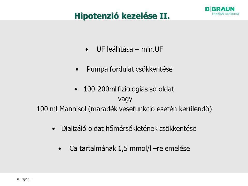 sl | Page Hipotenzió kezelése II. UF leállítása – min.UF Pumpa fordulat csökkentése 100-200ml fiziológiás só oldat vagy 100 ml Mannisol (maradék vesef