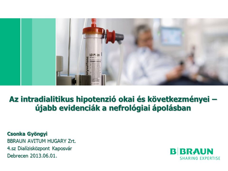 Az intradialitikus hipotenzió okai és következményei – újabb evidenciák a nefrológiai ápolásban Csonka Gyöngyi BBRAUN AVITUM HUGARY Zrt.