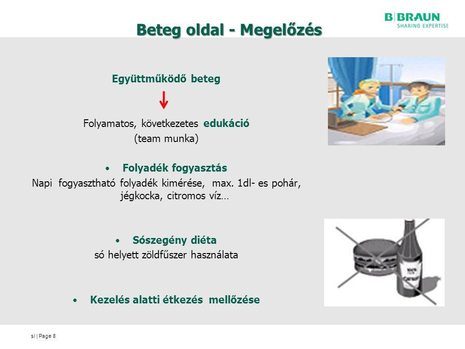 sl | Page Beteg oldal - Megelőzés Együttműködő beteg Folyamatos, következetes edukáció (team munka) Folyadék fogyasztás Napi fogyasztható folyadék kimérése, max.