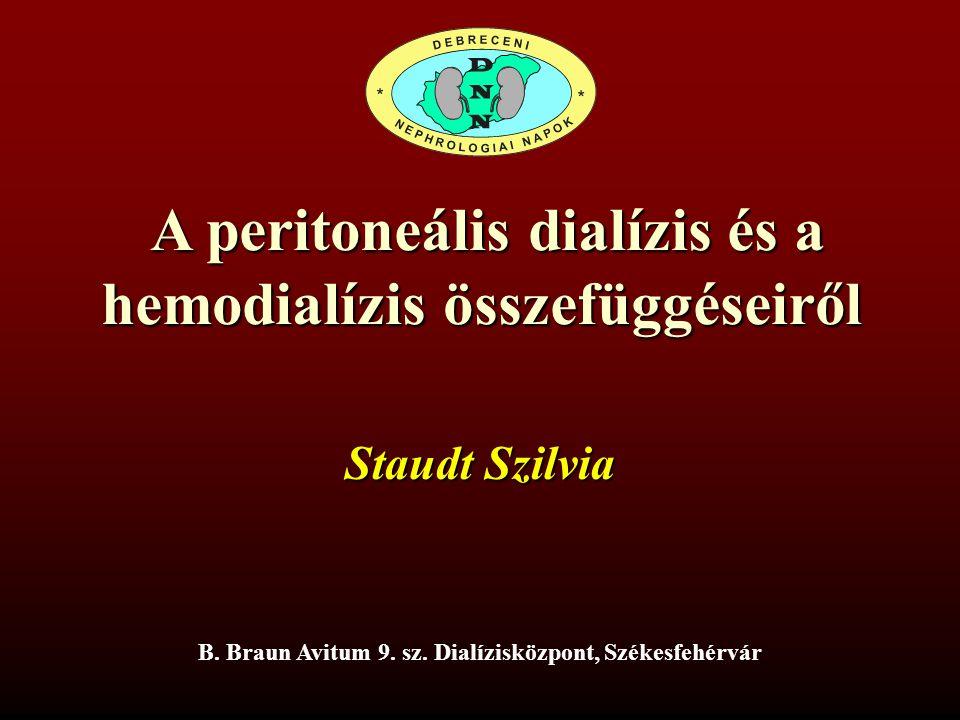 A peritoneális dialízis és a A peritoneális dialízis és a hemodialízis összefüggéseiről B. Braun Avitum 9. sz. Dialízisközpont, Székesfehérvár Staudt