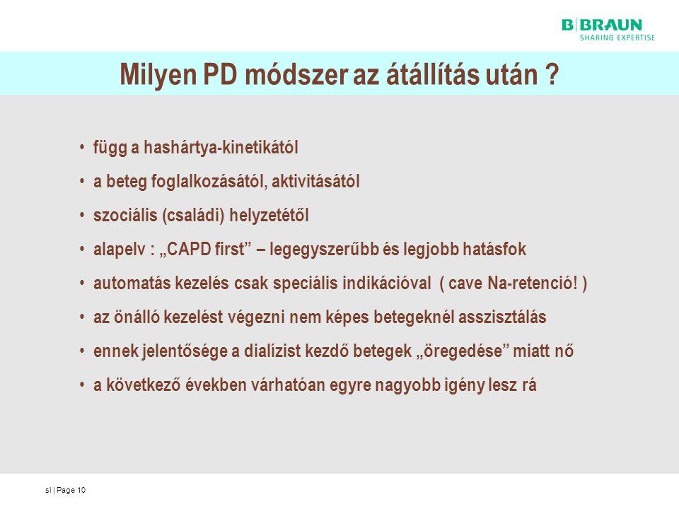 sl | Page10 Milyen PD módszer az átállítás után ? függ a hashártya-kinetikától a beteg foglalkozásától, aktivitásától szociális (családi) helyzetétől