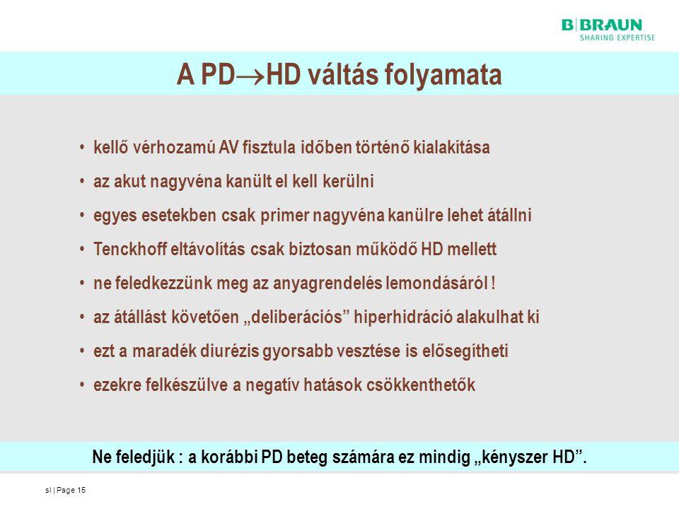 sl | Page15 A PD  HD váltás folyamata kellő vérhozamú AV fisztula időben történő kialakítása az akut nagyvéna kanült el kell kerülni egyes esetekben
