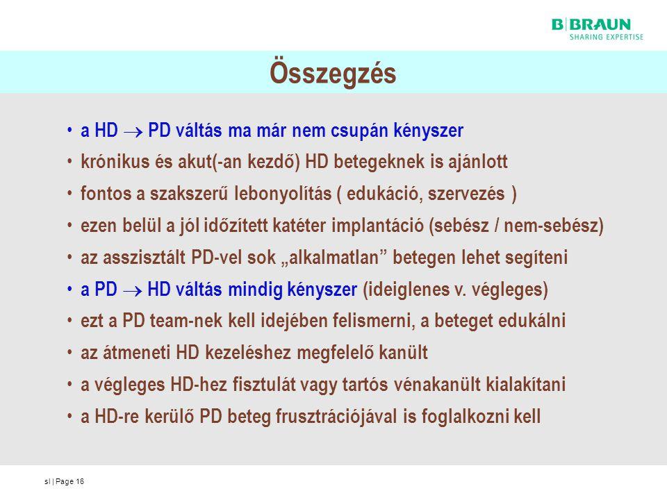 sl | Page16 Összegzés a HD  PD váltás ma már nem csupán kényszer krónikus és akut(-an kezdő) HD betegeknek is ajánlott fontos a szakszerű lebonyolítá