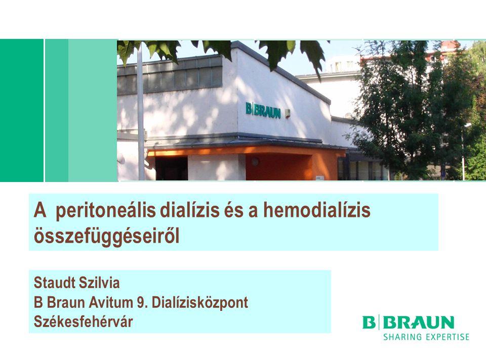 A peritoneális dialízis és a hemodialízis összefüggéseiről Staudt Szilvia B Braun Avitum 9. Dialízisközpont Székesfehérvár