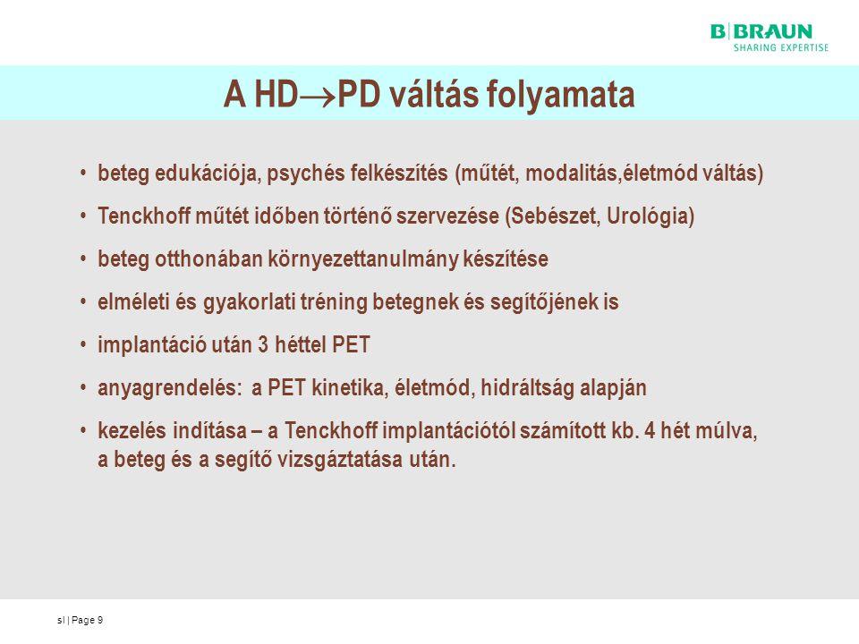 sl | Page9 A HD  PD váltás folyamata beteg edukációja, psychés felkészítés (műtét, modalitás,életmód váltás) Tenckhoff műtét időben történő szervezés
