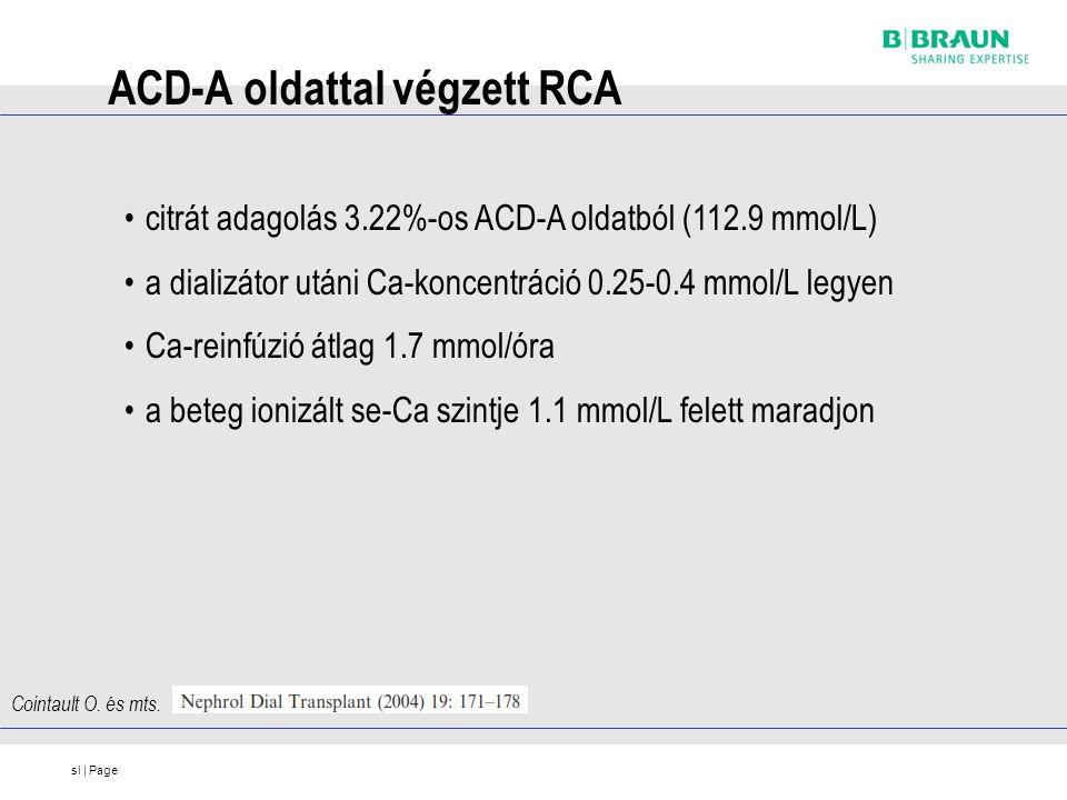 sl | Page ACD-A oldattal végzett RCA citrát adagolás 3.22%-os ACD-A oldatból (112.9 mmol/L) a dializátor utáni Ca-koncentráció 0.25-0.4 mmol/L legyen