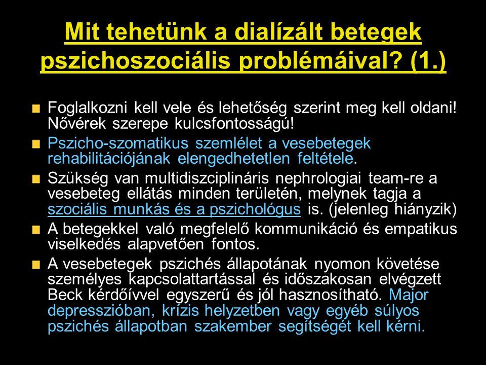 Mit tehetünk a dialízált betegek pszichoszociális problémáival? (1.) Foglalkozni kell vele és lehetőség szerint meg kell oldani! Nővérek szerepe kulcs