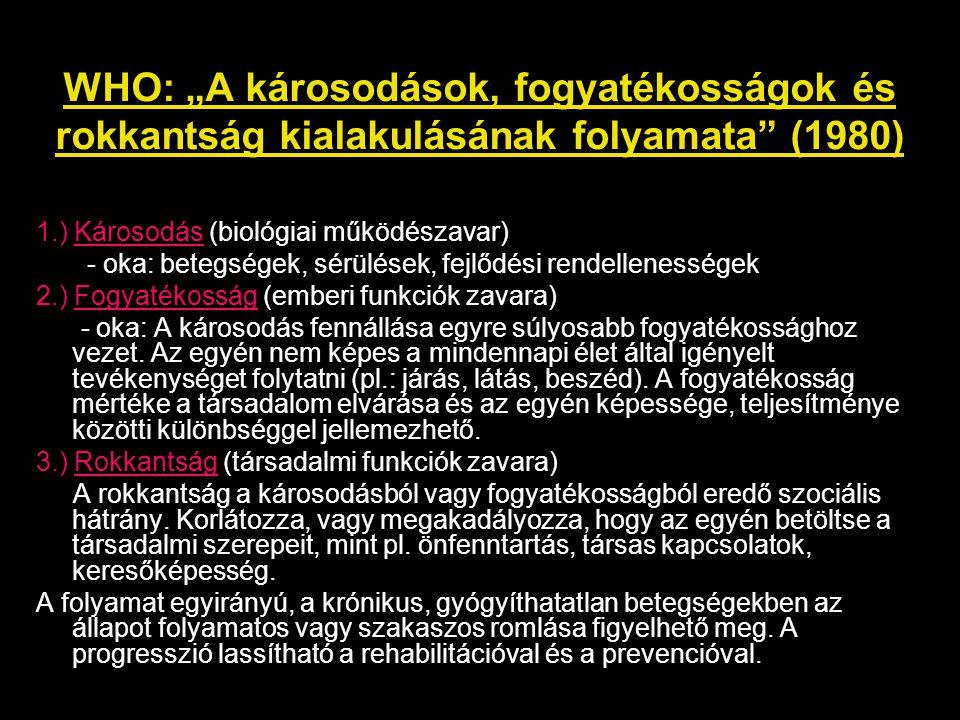 """WHO: """"A károsodások, fogyatékosságok és rokkantság kialakulásának folyamata"""" (1980) 1.) Károsodás (biológiai működészavar) - oka: betegségek, sérülése"""