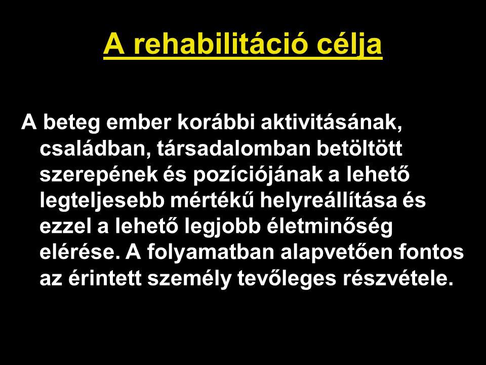 A rehabilitáció célja A beteg ember korábbi aktivitásának, családban, társadalomban betöltött szerepének és pozíciójának a lehető legteljesebb mértékű