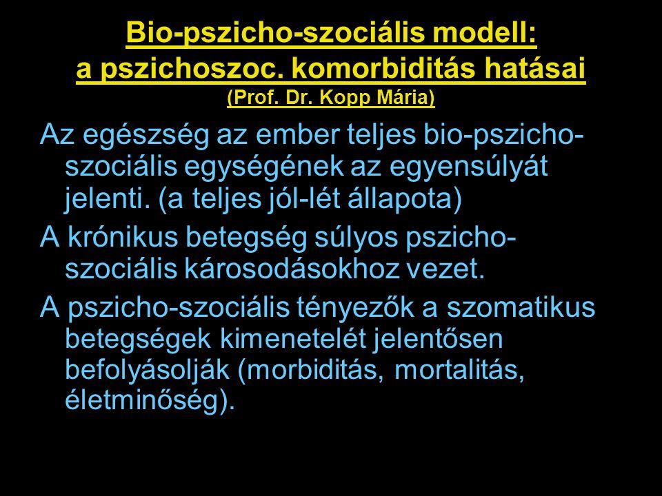 A betegség gyógyításának problémája Az ember bio-pszicho-szociális egysége Krónikus betegségben ez a komplex egység bomlik meg Nem elég az, ha a gyógyítás csak a biológiai károsodásra irányul, szükség van a teljes bio-pszicho- szociális egyensúly helyreállítására A krónikus vesebetegek kezelésében nem elég csak a dialízis kezelést magas szinten biztosítani, a betegséghez társuló szociális és pszichés problémákkal is foglalkozni kell.