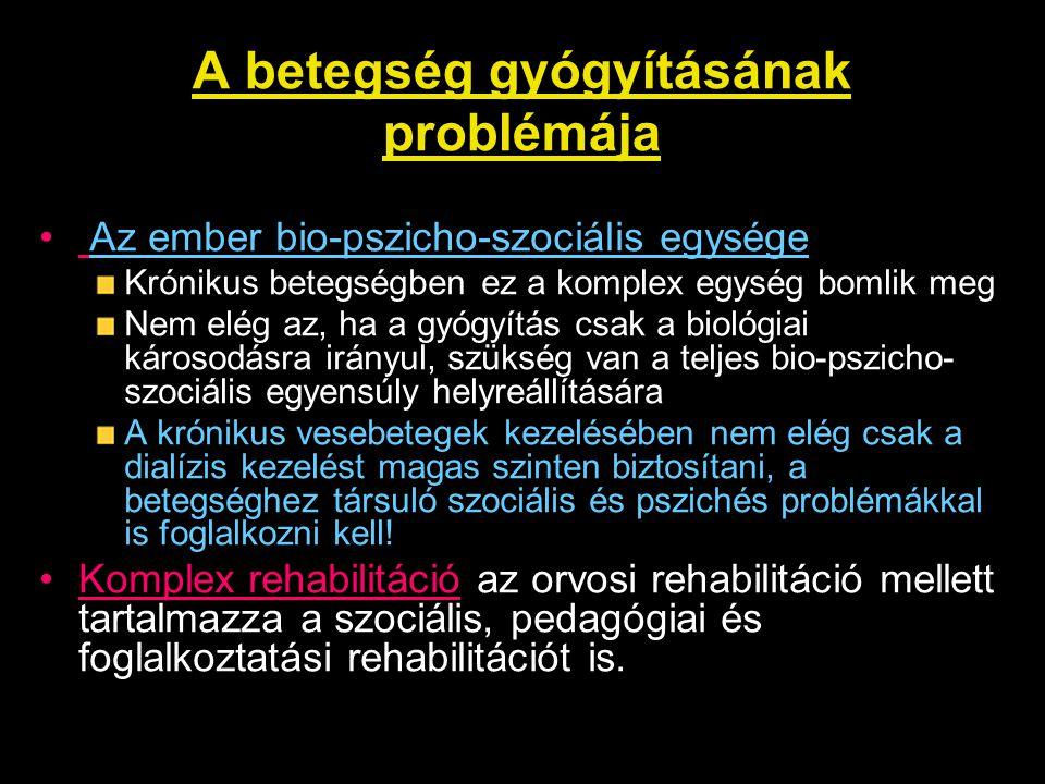 Depresszió prediktorai (2006) Életkor: NS Családi állapot: NS Dialízis modalitás: NS Dialízis időtartama: NS Comorbiditás: NS Nem (nő/ffi): p<0,001 Anyagi helyzet: p<0,001 Iskolai végzettség: p<0,001 Látás és/vagy hallás fogyatékosság: p<0,001 Önellátásban való korlátozottság: p<0,001