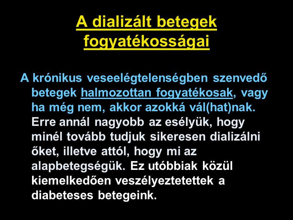 """Dializált betegek pszicho-szociális problémái Létbizonytalanság, kiszolgáltatottság, """"élet a halál árnyékában Betegséggel való együttélés, függőség Családi problémák (válás, magányosság) Munka és munkahely elvesztése (önbecsülés, alacsony iskolai végzettség) Egyre súlyosabb anyagi- és szociális gondok Egyre több idős, egyedülálló, multimorbid beteget dializálunk marginalizáció depresszió (kb."""