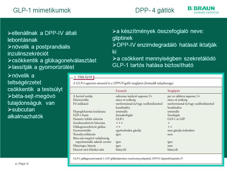 sl | Page12  ellenállnak a DPP-IV általi lebontásnak  növelik a postprandialis inzulinszekréciót  csökkentik a glükagonelválasztást  lassítják a g