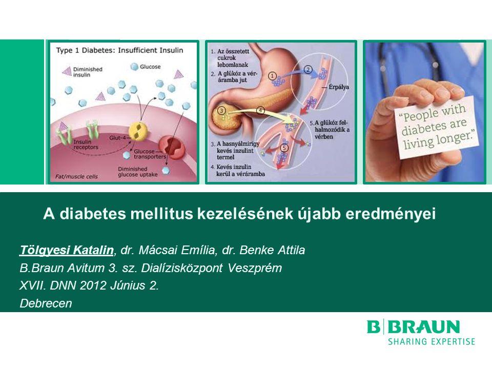 A diabetes mellitus kezelésének újabb eredményei Tölgyesi Katalin, dr. Mácsai Emília, dr. Benke Attila B.Braun Avitum 3. sz. Dialízisközpont Veszprém