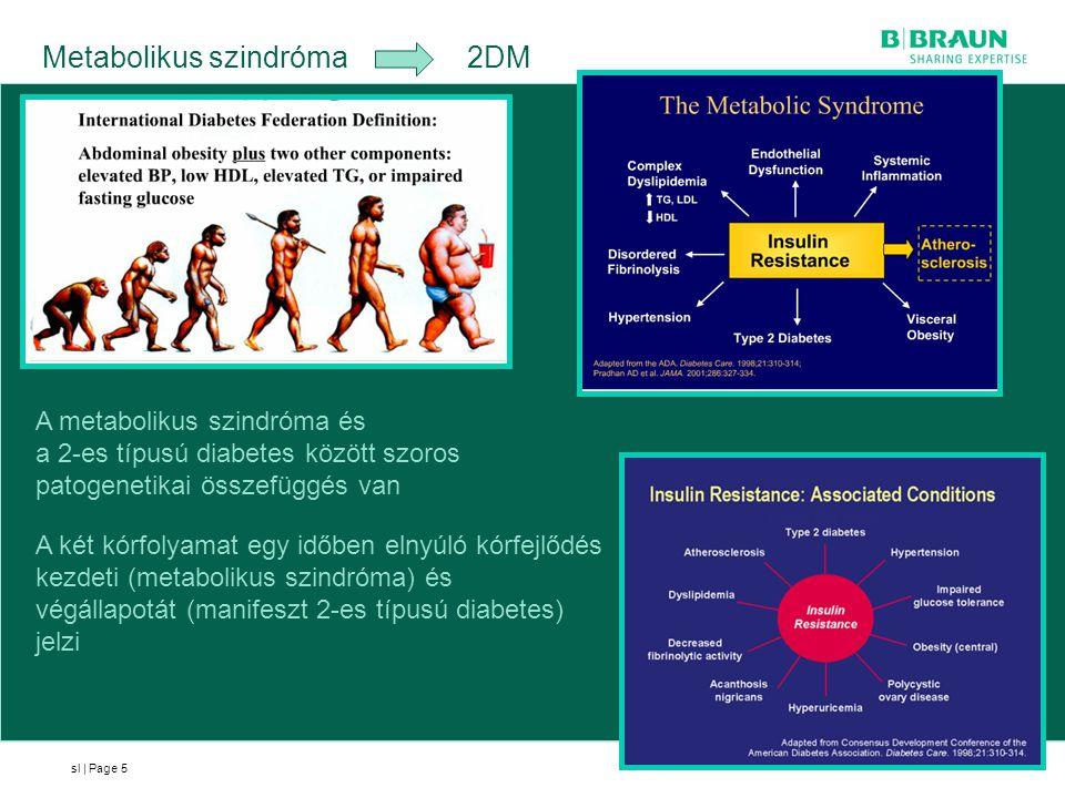 sl | Page Metabolikus szindróma 2DM 5 A metabolikus szindróma és a 2-es típusú diabetes között szoros patogenetikai összefüggés van A két kórfolyamat