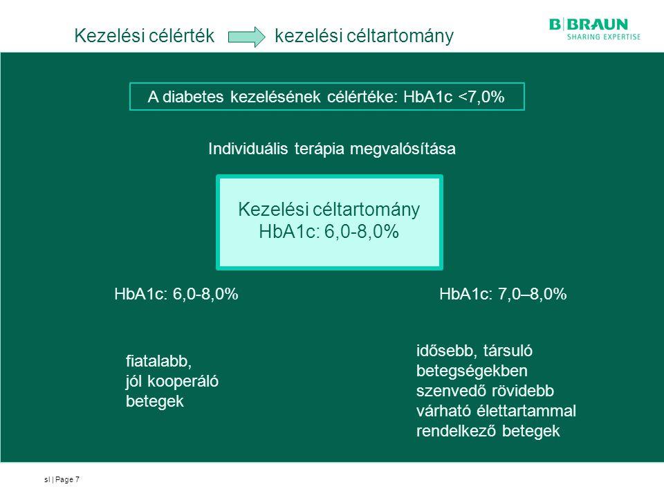 sl | Page7 Kezelési célérték kezelési céltartomány A diabetes kezelésének célértéke: HbA1c <7,0% Individuális terápia megvalósítása HbA1c: 6,0-8,0% fi
