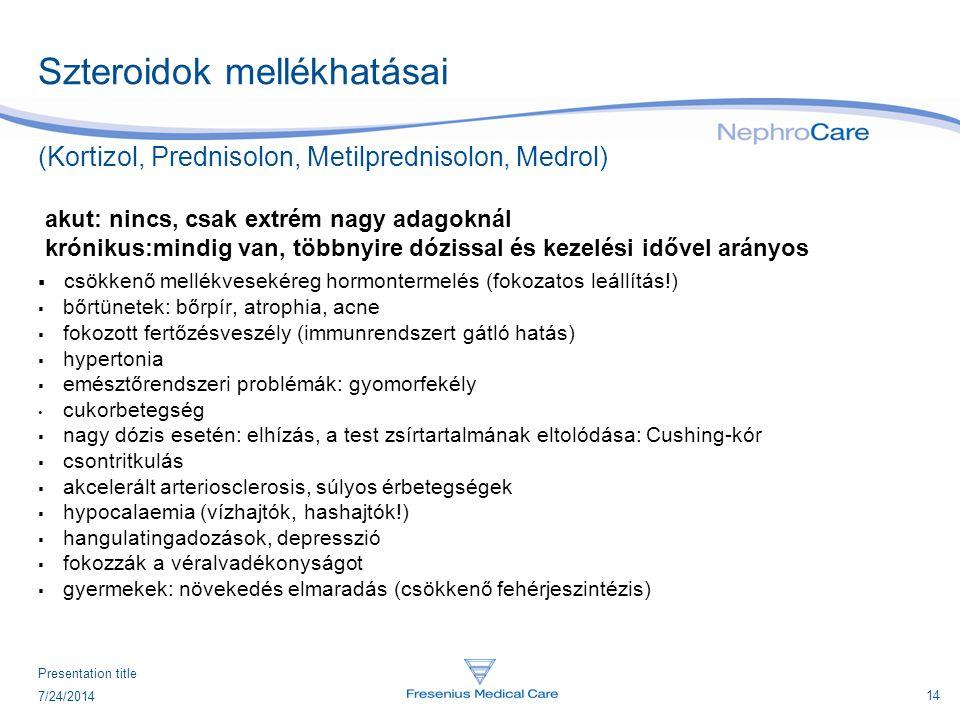14 7/24/2014 Presentation title Szteroidok mellékhatásai (Kortizol, Prednisolon, Metilprednisolon, Medrol) akut: nincs, csak extrém nagy adagoknál kró