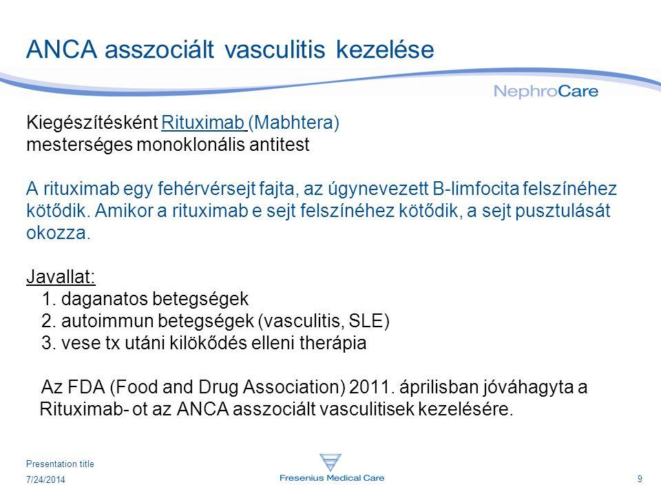 9 7/24/2014 Presentation title ANCA asszociált vasculitis kezelése Kiegészítésként Rituximab (Mabhtera) mesterséges monoklonális antitest A rituximab