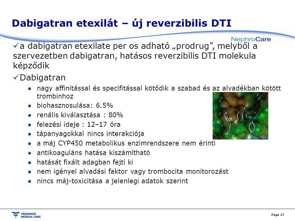 """Dabigatran etexilát – új reverzibilis DTI a dabigatran etexilate per os adható """"prodrug"""", melyből a szervezetben dabigatran, hatásos reverzibilis DTI"""