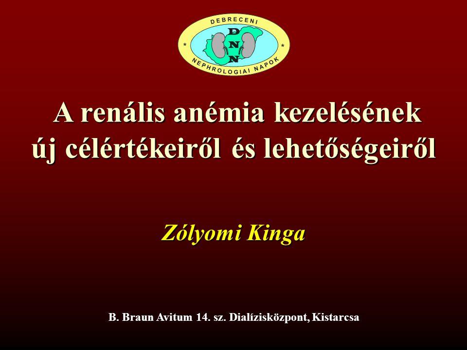A renális anémia kezelésének A renális anémia kezelésének új célértékeiről és lehetőségeiről B. Braun Avitum 14. sz. Dialízisközpont, Kistarcsa Zólyom