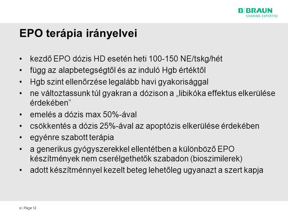 sl | Page12 EPO terápia irányelvei kezdő EPO dózis HD esetén heti 100-150 NE/tskg/hét függ az alapbetegségtől és az induló Hgb értéktől Hgb szint elle