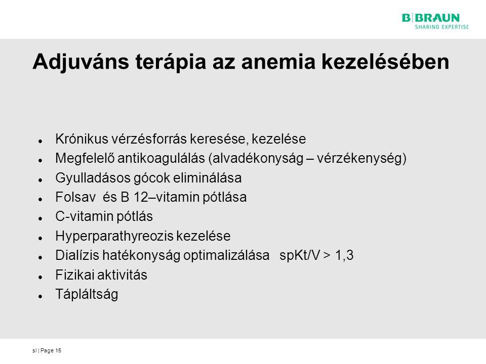 sl | Page15 Adjuváns terápia az anemia kezelésében Krónikus vérzésforrás keresése, kezelése Megfelelő antikoagulálás (alvadékonyság – vérzékenység) Gy