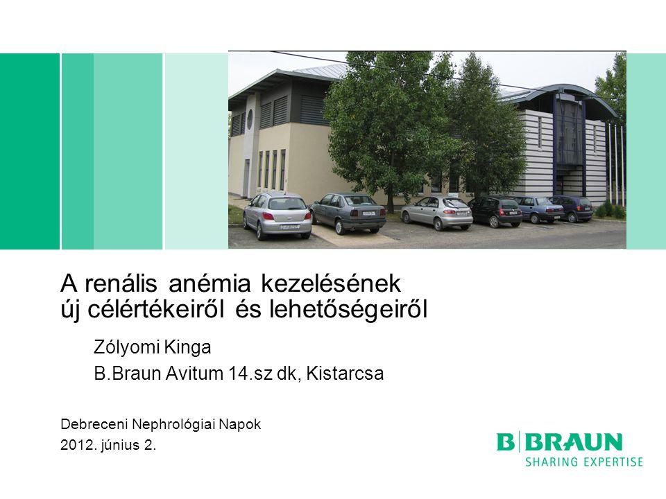 A renális anémia kezelésének új célértékeiről és lehetőségeiről Zólyomi Kinga B.Braun Avitum 14.sz dk, Kistarcsa Debreceni Nephrológiai Napok 2012. jú