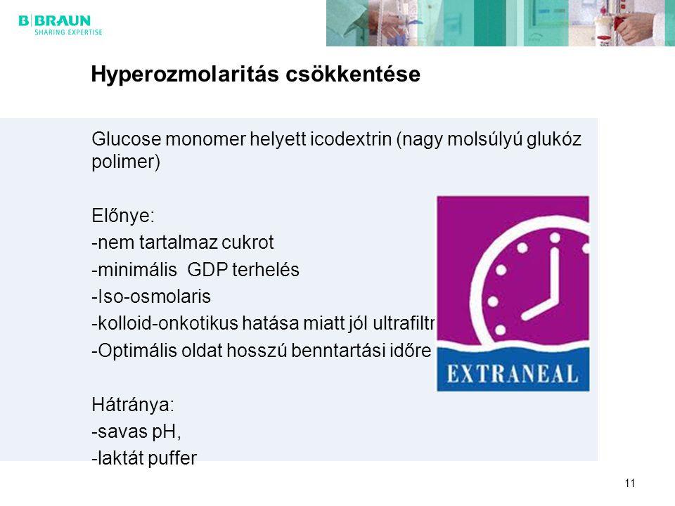 11 Hyperozmolaritás csökkentése Glucose monomer helyett icodextrin (nagy molsúlyú glukóz polimer) Előnye: -nem tartalmaz cukrot -minimális GDP terhelé