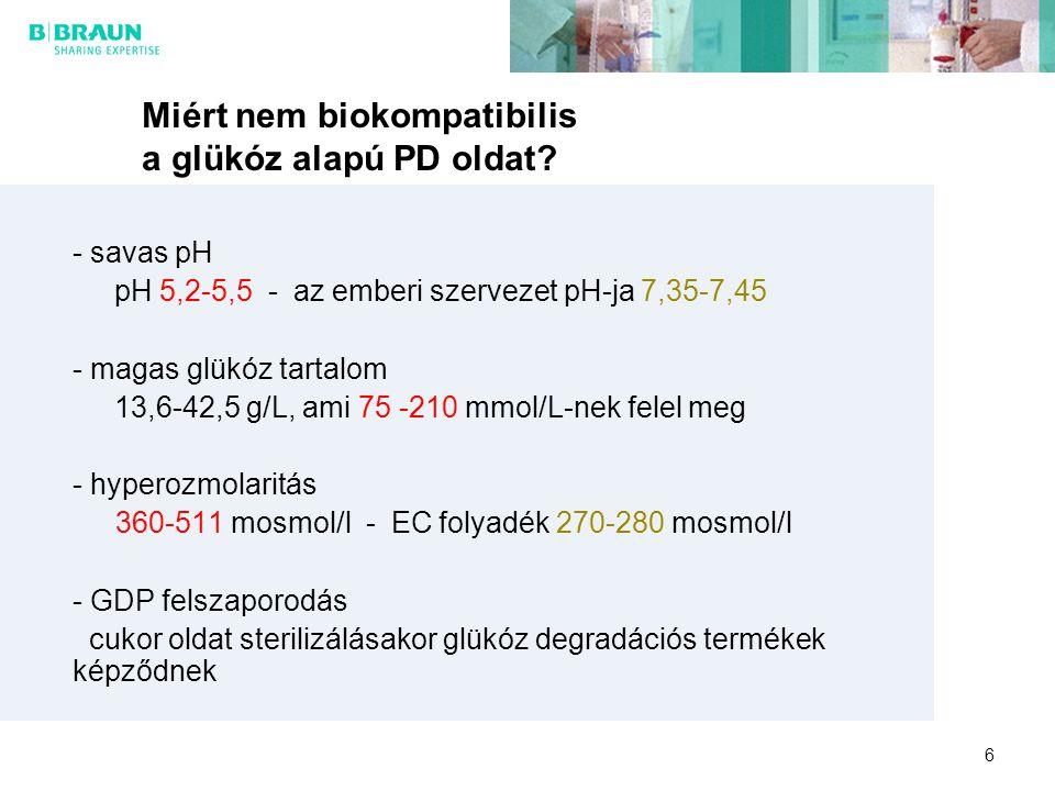 6 Miért nem biokompatibilis a glükóz alapú PD oldat? - savas pH pH 5,2-5,5 - az emberi szervezet pH-ja 7,35-7,45 - magas glükóz tartalom 13,6-42,5 g/L