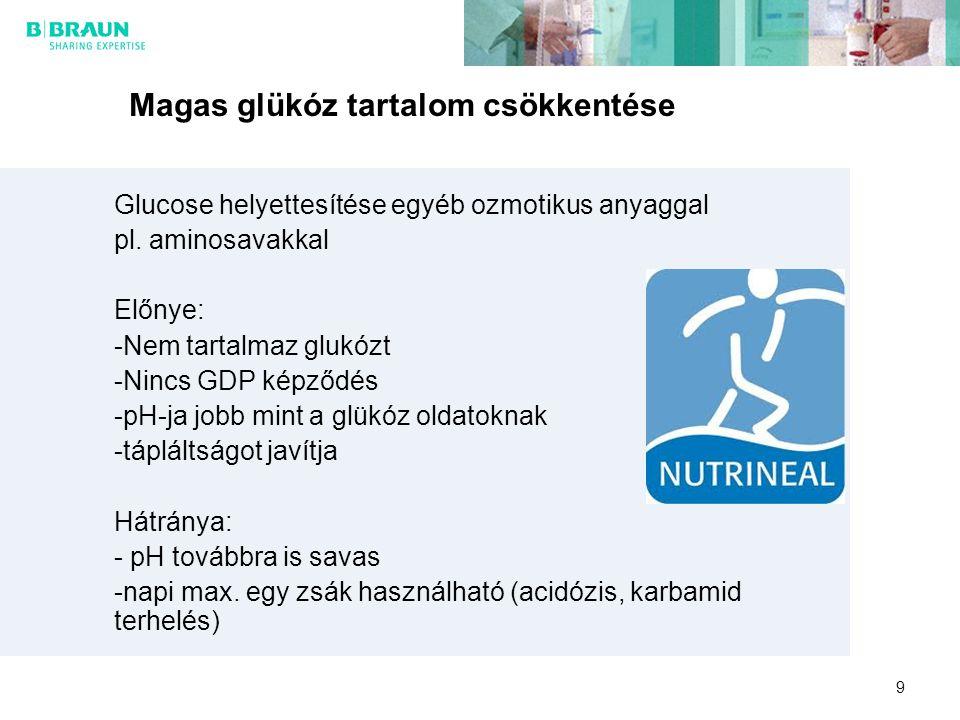 9 Magas glükóz tartalom csökkentése Glucose helyettesítése egyéb ozmotikus anyaggal pl. aminosavakkal Előnye: -Nem tartalmaz glukózt -Nincs GDP képződ