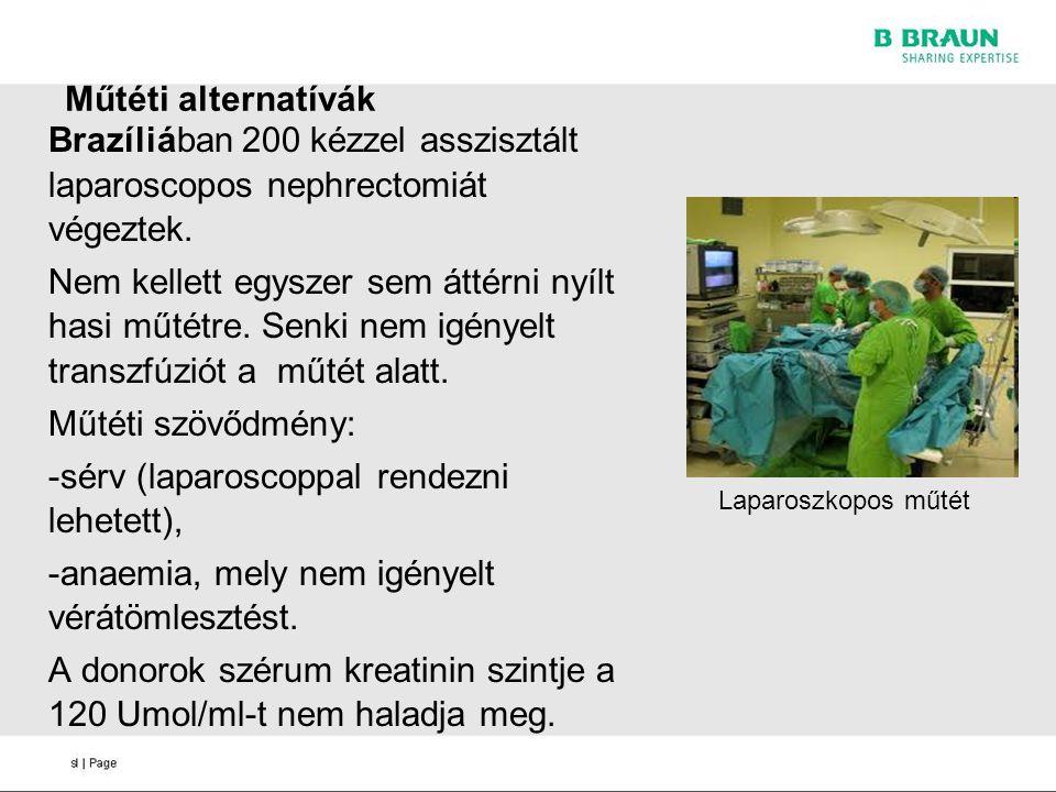 Műtéti alternatívák Brazíliában 200 kézzel asszisztált laparoscopos nephrectomiát végeztek. Nem kellett egyszer sem áttérni nyílt hasi műtétre. Senki