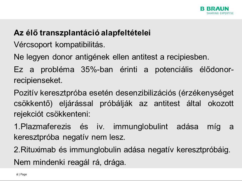 Az élő transzplantáció alapfeltételei Vércsoport kompatibilitás. Ne legyen donor antigének ellen antitest a recipiesben. Ez a probléma 35%-ban érinti