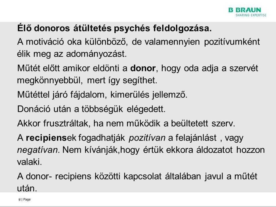 Élő donoros átültetés psychés feldolgozása. A motiváció oka különböző, de valamennyien pozitívumként élik meg az adományozást. Műtét előtt amikor eldö