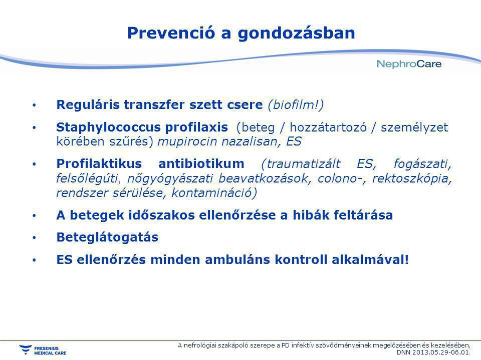 Prevenció a gondozásban Reguláris transzfer szett csere (biofilm!) Staphylococcus profilaxis (beteg / hozzátartozó / személyzet körében szűrés) mupiro