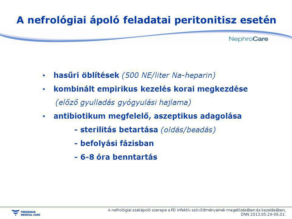 A nefrológiai ápoló feladatai peritonitisz esetén hasűri öblítések (500 NE/liter Na-heparin) kombinált empirikus kezelés korai megkezdése (előző gyull